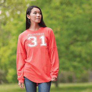 Proverbs 31 Dolman Sleeve Sweatshirt - Small / Coral - Christian T-Shirt | Christian Gifts | Christian Apparel - 1