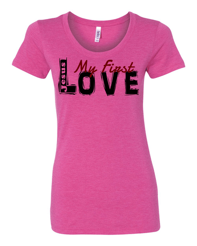 Jesus:  My First Love Ladies' Tri-blend Christian T-Shirt - S / Berry - Christian T-Shirt | Christian Gifts | Christian Apparel - 1