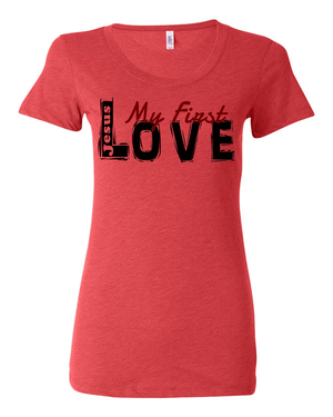 Jesus:  My First Love Ladies' Tri-blend Christian T-Shirt - S / Red - Christian T-Shirt | Christian Gifts | Christian Apparel - 5