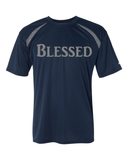 Blessed Mens Performance Christian T-Shirt - Small / Navy/Steel - Christian T-Shirt | Christian Gifts | Christian Apparel - 4