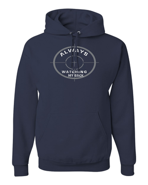 He's Always Watching My Back Hooded Sweatshirt - Small / Navy - Christian T-Shirt | Christian Gifts | Christian Apparel - 7