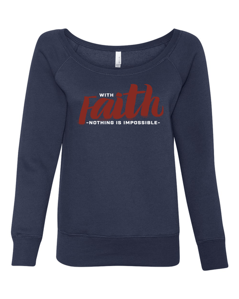 With Faith Long Sleeve (Wide Neck) Christian Sweatshirt - Medium / Navy - Christian T-Shirt | Christian Gifts | Christian Apparel - 3