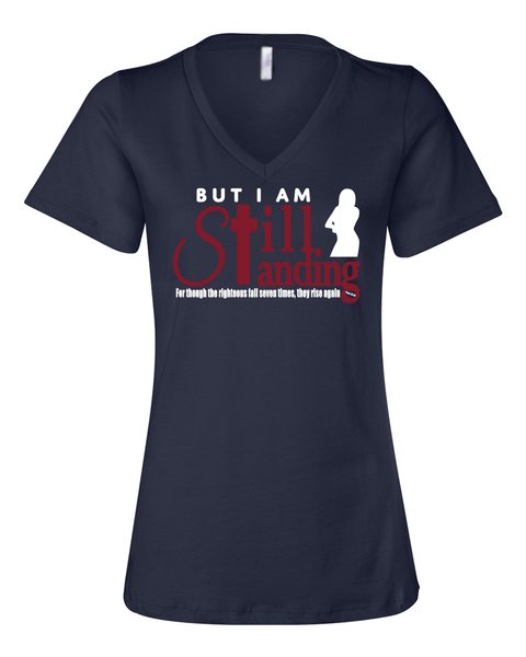 Still Standing Women's V-Neck Tee - Small / Navy - Christian T-Shirt | Christian Gifts | Christian Apparel - 4