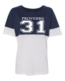 Proverbs 31 Women's Pom Pom Jersey - Small / Navy - Christian T-Shirt | Christian Gifts | Christian Apparel - 4