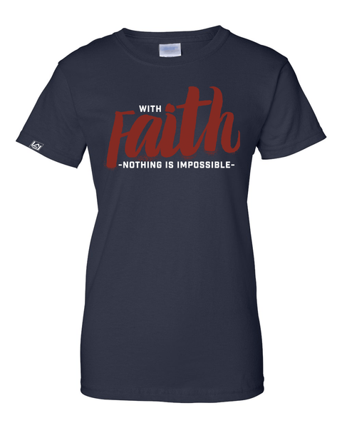 With Faith Women's Crew Neck Tee - Small / Navy - Christian T-Shirt | Christian Gifts | Christian Apparel - 5