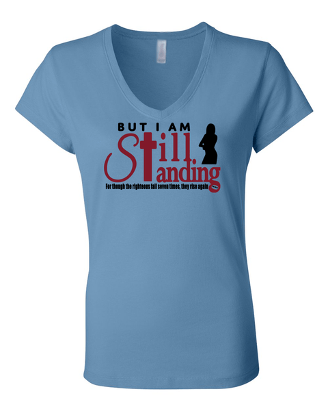 Still Standing Women's V-Neck Tee - Small / Light Blue - Christian T-Shirt | Christian Gifts | Christian Apparel - 5