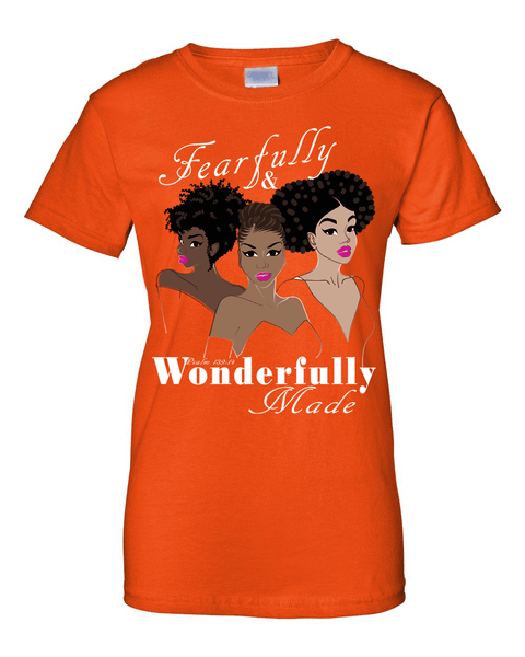 Fearfully and Wonderfully Made II Classic Fit (Crew Neck) Christian T-Shirt - Small / Orange - Christian T-Shirt | Christian Gifts | Christian Apparel - 7