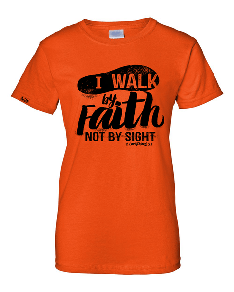 Walk by Faith Women's Classic Fit T-Shirt - Small / Orange - Christian T-Shirt | Christian Gifts | Christian Apparel - 4