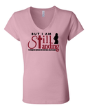 Still Standing Women's V-Neck Tee - Small / Pink - Christian T-Shirt | Christian Gifts | Christian Apparel - 6