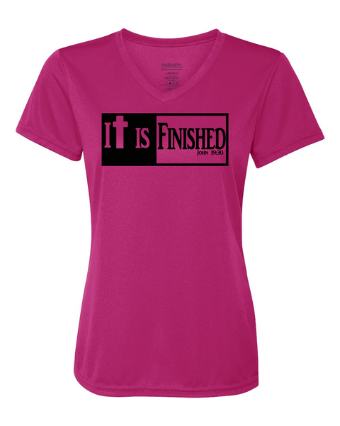 It is Finished Womens V-Neck Performance T-Shirt - Small / Pink - Christian T-Shirt | Christian Gifts | Christian Apparel - 4