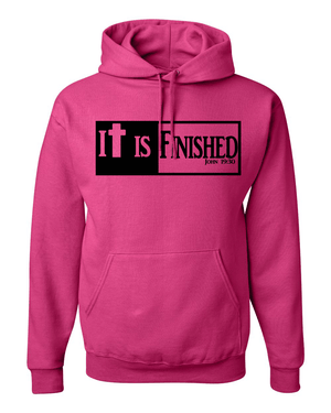 It is Finished Hooded Sweatshirt - Small / Pink - Christian T-Shirt | Christian Gifts | Christian Apparel - 3