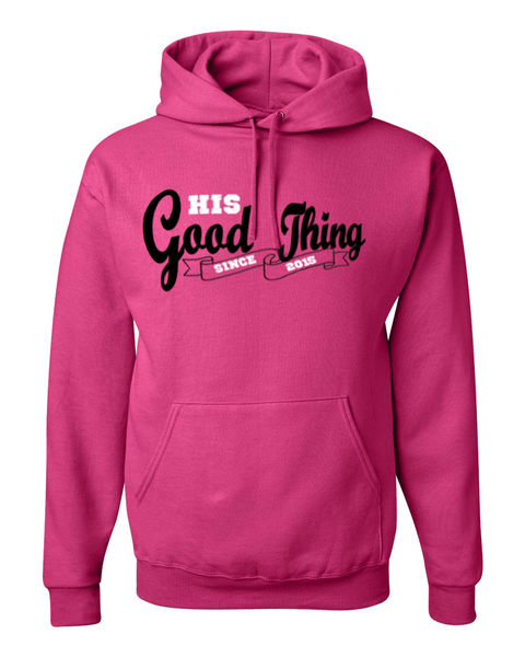 His Good Thing Since....Custom Ladies Hoodie - Small / Pink - Christian T-Shirt | Christian Gifts | Christian Apparel - 3