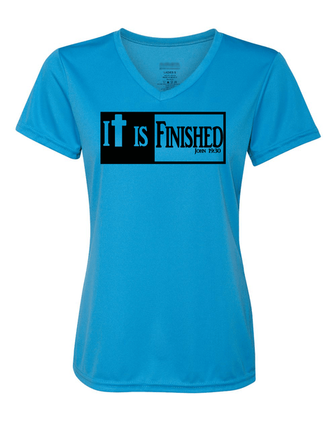 It is Finished Womens V-Neck Performance T-Shirt - Small / Powder Blue - Christian T-Shirt | Christian Gifts | Christian Apparel - 5
