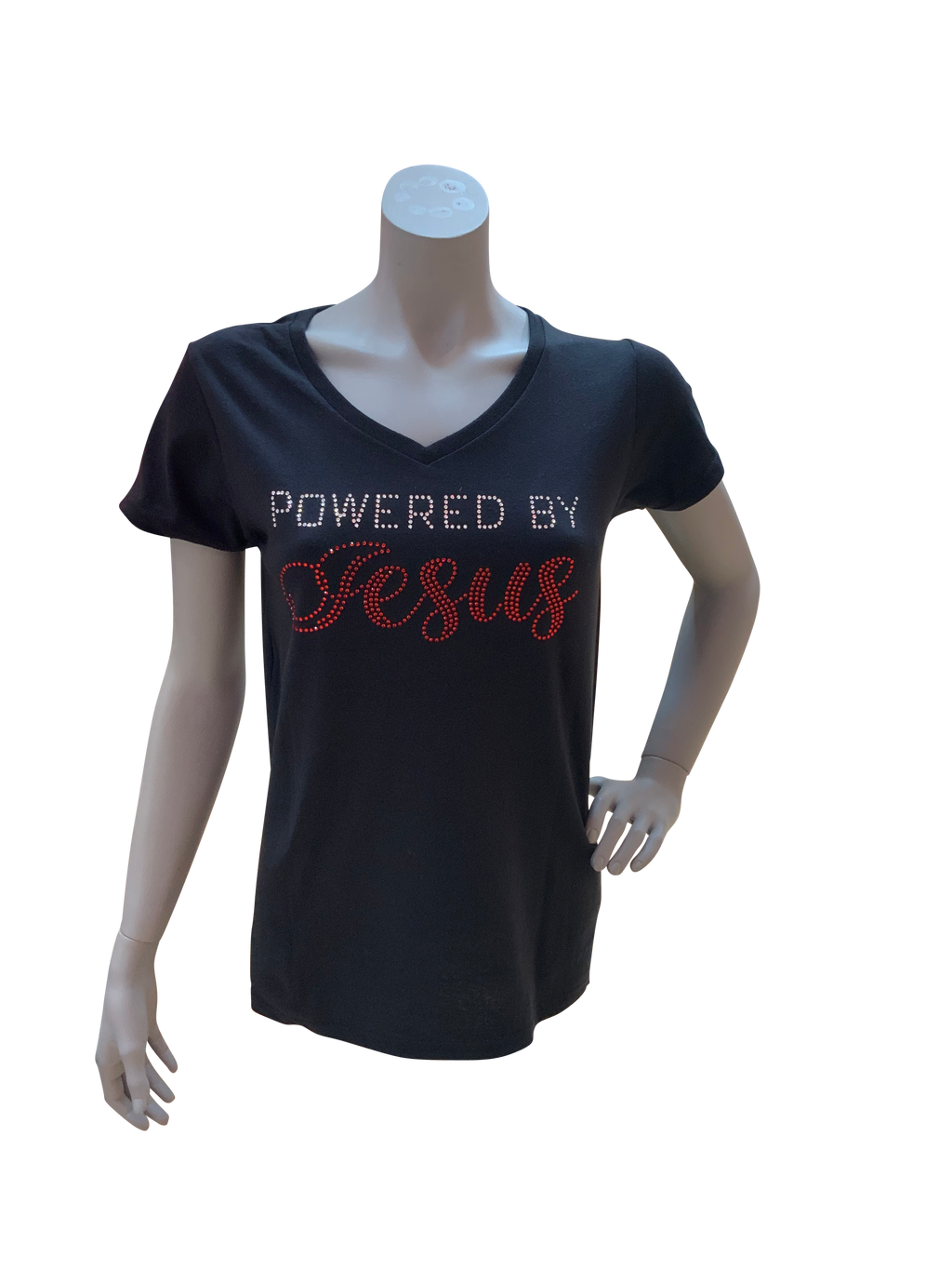 Powered by Jesus Rhinestone V-Neck Tee (Pick up In Store)