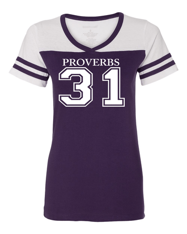Proverbs 31 Women's Powder Puff Tee - Small / Purple - Christian T-Shirt | Christian Gifts | Christian Apparel - 1
