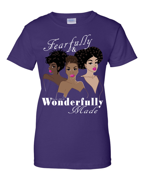Fearfully and Wonderfully Made II Classic Fit (Crew Neck) Christian T-Shirt - Small / Purple - Christian T-Shirt | Christian Gifts | Christian Apparel - 2