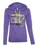 I Can Do All Things Through Christ Womens Lightweight Long-Sleeve Hooded Tee - Small / Heather Purple - Christian T-Shirt | Christian Gifts | Christian Apparel - 7