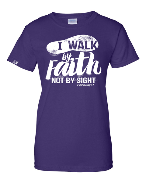 Walk by Faith Women's Classic Fit T-Shirt - Small / Purple - Christian T-Shirt | Christian Gifts | Christian Apparel - 5