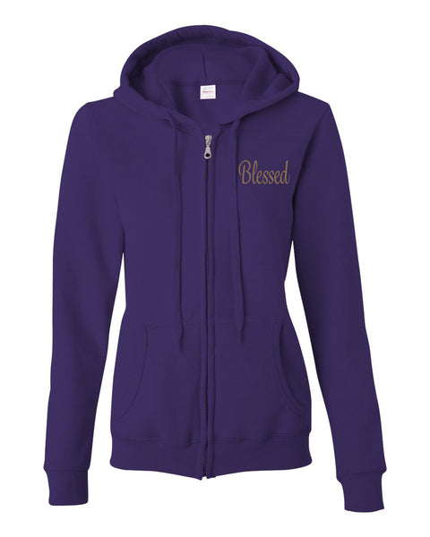 Blessed (Embroidered) Women's Full-Zip Hooded Sweatshirt