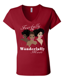 Fearfully and Wonderfully Made II Classic Fit (V-Neck) Christian T-Shirt - Small / Red - Christian T-Shirt | Christian Gifts | Christian Apparel - 1