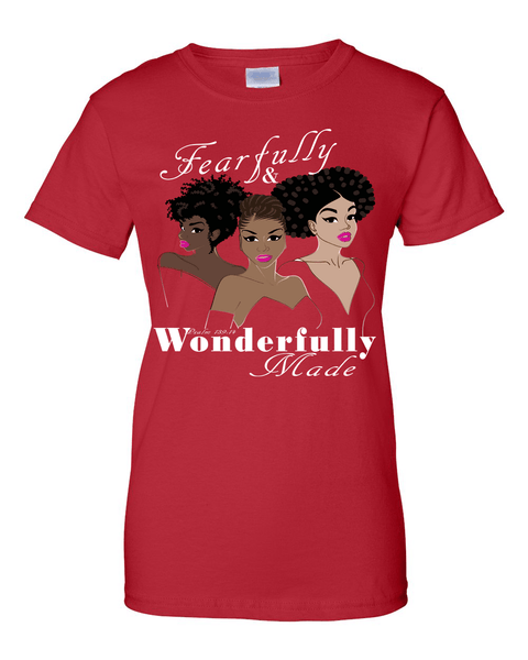 Fearfully and Wonderfully Made II Classic Fit (Crew Neck) Christian T-Shirt - Small / Red - Christian T-Shirt | Christian Gifts | Christian Apparel - 6