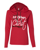 I Can Do All Things Through Christ Womens Lightweight Long-Sleeve Hooded Tee - Small / Red - Christian T-Shirt | Christian Gifts | Christian Apparel - 2