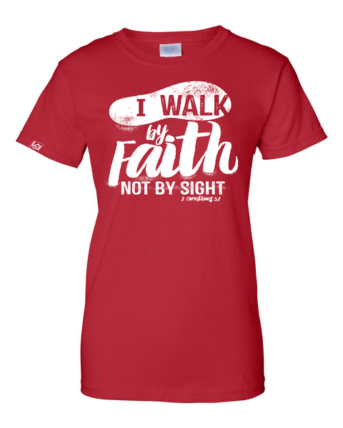 Walk by Faith Women's Classic Fit T-Shirt - Small / Red - Christian T-Shirt | Christian Gifts | Christian Apparel - 6