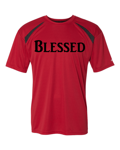 Blessed Mens Performance Christian T-Shirt - Small / Red/Carbon - Christian T-Shirt | Christian Gifts | Christian Apparel - 5