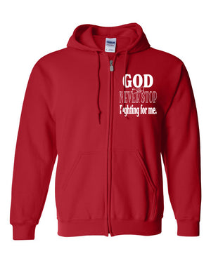 God Fights for Me Full-Zip Hooded Sweatshirt