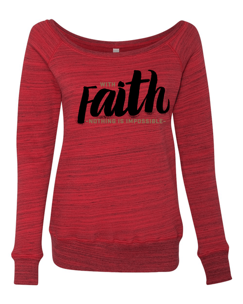 With Faith Long Sleeve (Wide Neck) Christian Sweatshirt - Small / Red Marble - Christian T-Shirt | Christian Gifts | Christian Apparel - 4