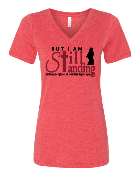 Still Standing Women's V-Neck Tee - Small / Red Triblend - Christian T-Shirt | Christian Gifts | Christian Apparel - 8