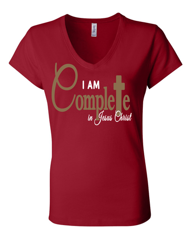 I Am Complete Classic Fit (V-Neck) Christian T-Shirt - Small / Red - Christian T-Shirt | Christian Gifts | Christian Apparel - 1