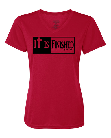 It is Finished Womens V-Neck Performance T-Shirt - Small / Red - Christian T-Shirt | Christian Gifts | Christian Apparel - 1