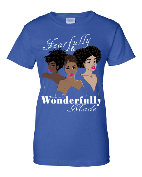Fearfully and Wonderfully Made II Classic Fit (Crew Neck) Christian T-Shirt - Small / Royal Blue - Christian T-Shirt | Christian Gifts | Christian Apparel - 5