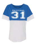 Proverbs 31 Women's Pom Pom Jersey - Small / Royal - Christian T-Shirt | Christian Gifts | Christian Apparel - 2