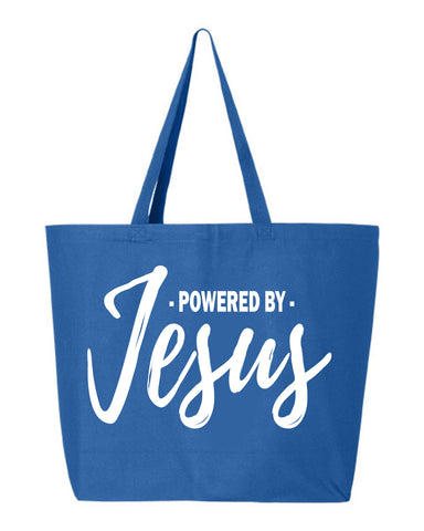 Powered by Jesus Jumbo Canvas Tote