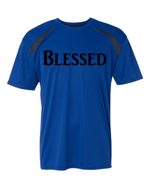 Blessed Mens Performance Christian T-Shirt - Small / Royal/Carbon - Christian T-Shirt | Christian Gifts | Christian Apparel - 6