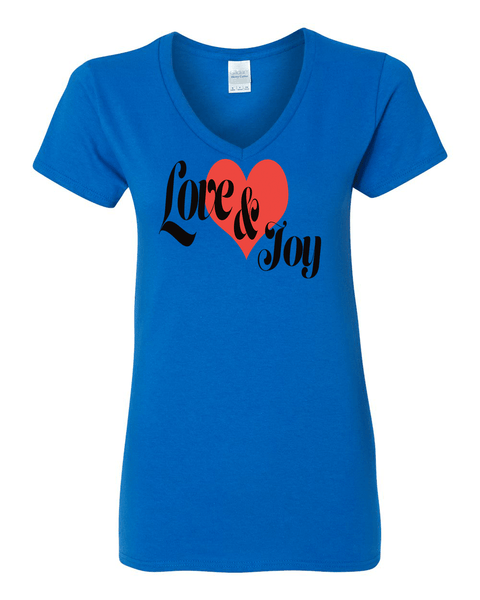 Love & Joy (V-Neck) Christian T-Shirt - Royal / Small - Christian T-Shirt | Christian Gifts | Christian Apparel - 5
