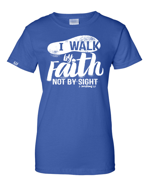 Walk by Faith Women's Classic Fit T-Shirt - Small / Royal - Christian T-Shirt | Christian Gifts | Christian Apparel - 7