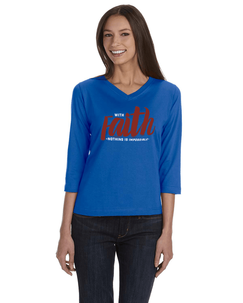 With Faith Womens' 3/4 Sleeve (V-Neck) Jersey T-Shirt - Royal / Small - Christian T-Shirt | Christian Gifts | Christian Apparel - 6