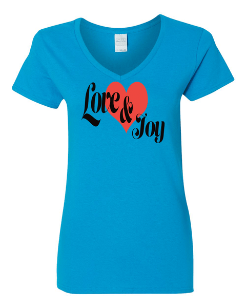 Love & Joy (V-Neck) Christian T-Shirt - Sapphire / Small - Christian T-Shirt | Christian Gifts | Christian Apparel - 6