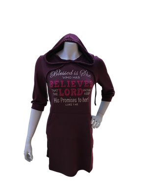 She Believes Hooded Rhinestone Tunic (3/4 Sleeve)