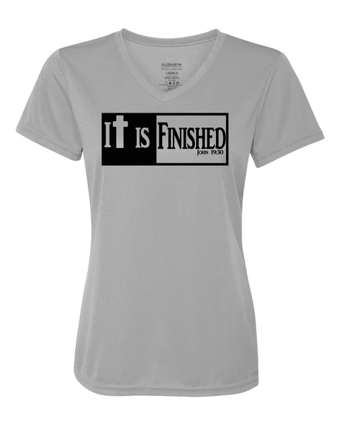 It is Finished Womens V-Neck Performance T-Shirt - Small / Silver - Christian T-Shirt | Christian Gifts | Christian Apparel - 7