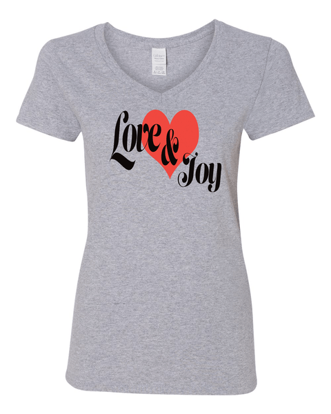 Love & Joy (V-Neck) Christian T-Shirt - Sport Grey / Small - Christian T-Shirt | Christian Gifts | Christian Apparel - 7