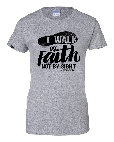 Walk by Faith Women's Classic Fit T-Shirt - Small / Sports Grey - Christian T-Shirt | Christian Gifts | Christian Apparel - 8
