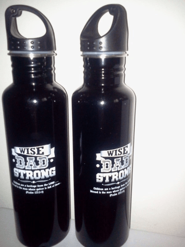 Wise & Strong Dad Collection 26 oz Go Green Stainless Steel Sports Bottle *Ships Same Day* -  - Christian T-Shirt | Christian Gifts | Christian Apparel - 1