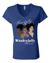 Fearfully and Wonderfully Made II Classic Fit (V-Neck) Christian T-Shirt - Small / Royal - Christian T-Shirt | Christian Gifts | Christian Apparel - 4