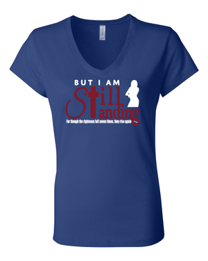 Still Standing Women's V-Neck Tee - Small / Royal - Christian T-Shirt | Christian Gifts | Christian Apparel - 9