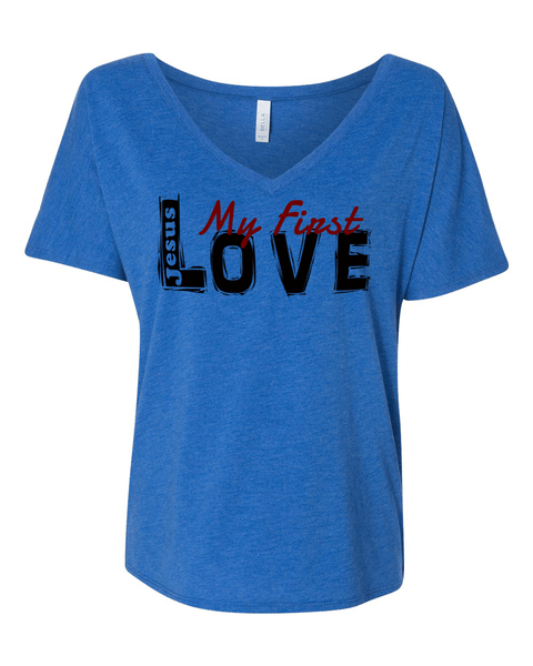 Jesus:  My First Love Ladies' Slouchy V-Neck Christian T-Shirt - S / True Royal Tri-Blend - Christian T-Shirt | Christian Gifts | Christian Apparel - 6