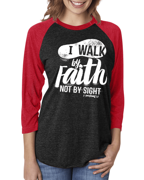 Walk by Faith Three-Quarter Sleeve Baseball Raglan - Small / Vintage Black/Vintage Red - Christian T-Shirt | Christian Gifts | Christian Apparel - 5
